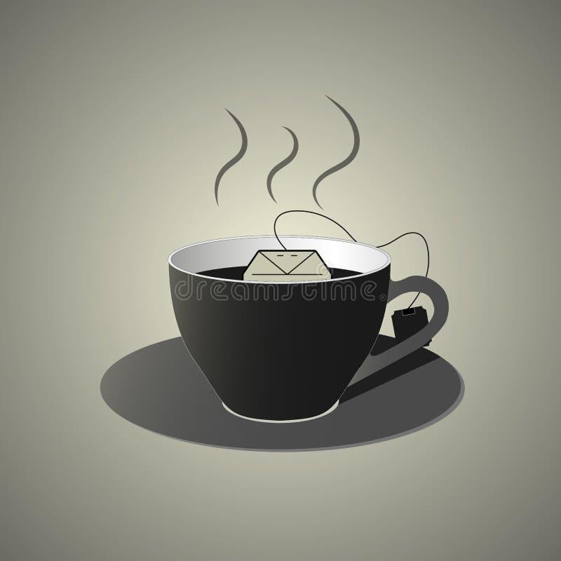 Czarna filiżanka gorący herbaciany dowcipu teabag, mieszkanie styl royalty ilustracja