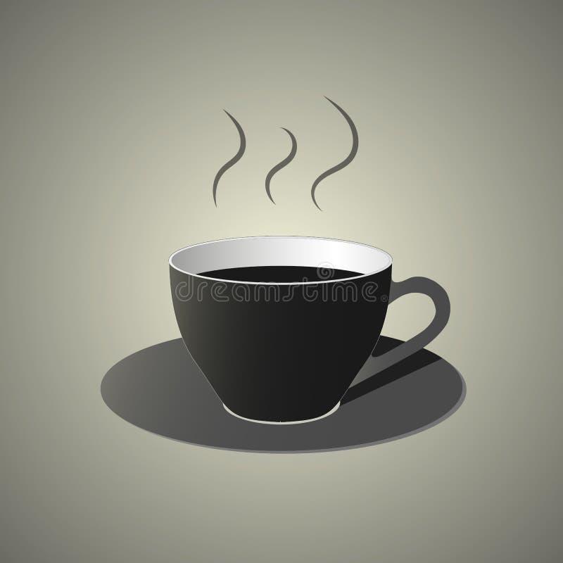 Czarna filiżanka z świeżą mieszającą kawową ikoną royalty ilustracja