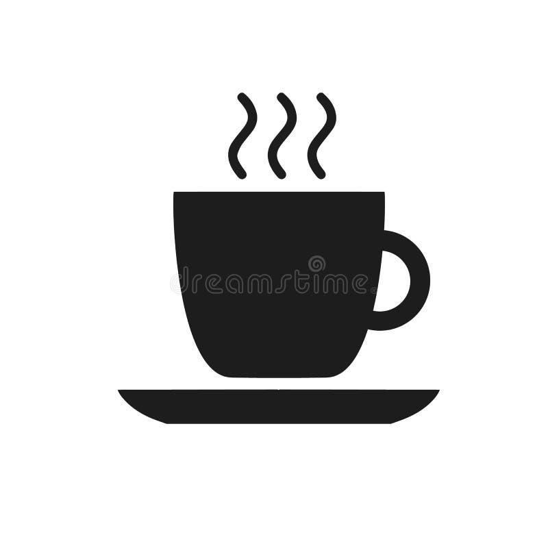 Czarna filiżanki ikona z kawowym cukiernianym restauracyjnym jedzeniem pije herbacianego czerń kontur na białym tle royalty ilustracja