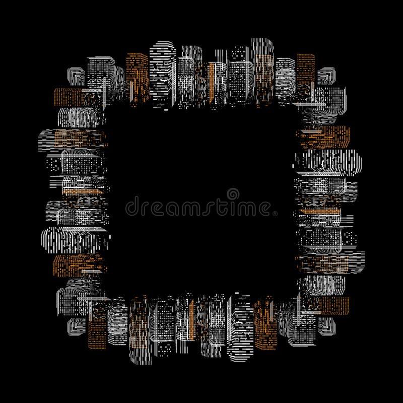 Czarna geometryczna odosobniona abstrakcjonistyczna duża miasto wektoru ilustracja Noc budynku nowożytna grodzka sylwetka, drapac ilustracji
