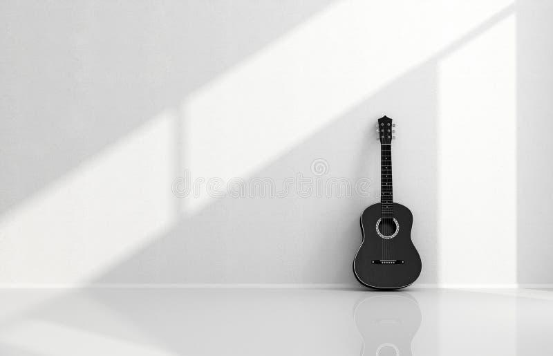 Czarna gitara akustyczna w białym pokoju royalty ilustracja