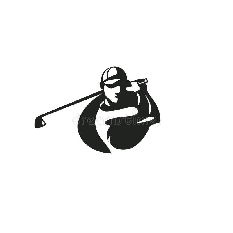 Czarna golfowego gracza loga templete wektoru ilustracja royalty ilustracja