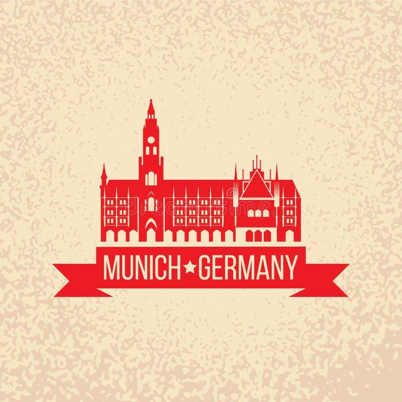 Czarna grunge pieczątka z imieniem Monachium stolica Bavaria od Niemcy royalty ilustracja