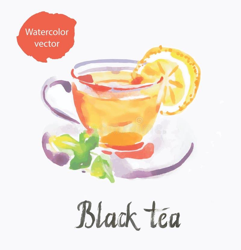 czarna herbata ilustracji