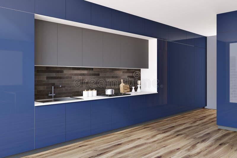Czarna i błękitna modna kuchenna countertop strona ilustracji