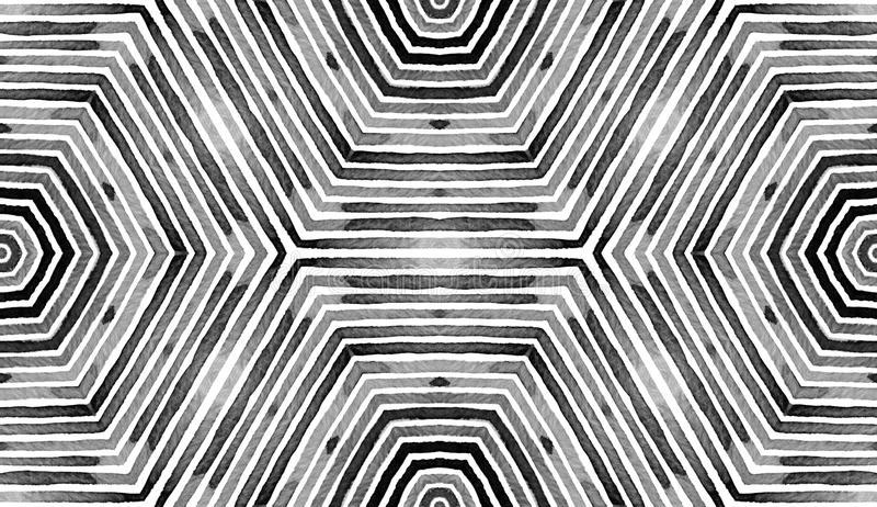 Czarna i biała Geometryczna akwarela Faktyczny Bezszwowy wzór Ręka rysujący lampasy Szczotkarska tekstura Perfect szewronu orname ilustracja wektor