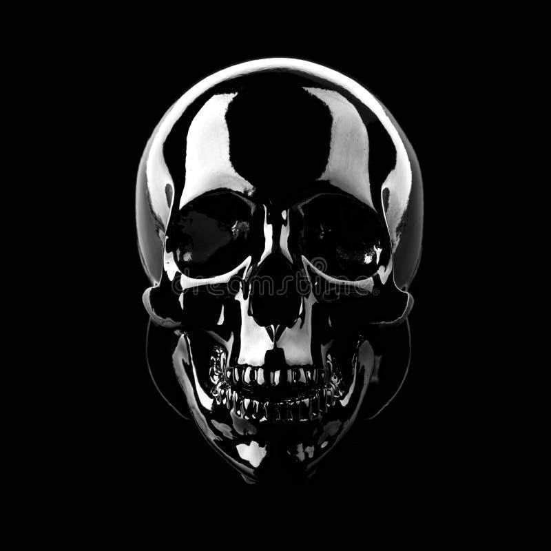 Czarna i glansowana czaszka obrazy royalty free