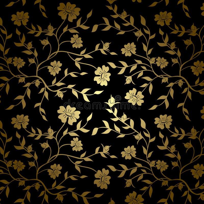 Czarna i złocista wektorowa kwiecista tekstura dla backgroun royalty ilustracja