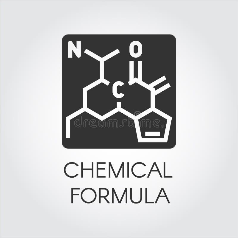 Czarna ikona chemiczna formuła w mieszkanie stylu Medycyna, nauka, biologia, chemia temat projekta elementów etykietki wektor royalty ilustracja