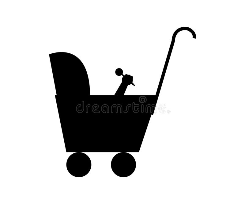 Czarna ikona dziecko fracht ilustracji