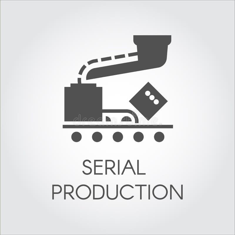 Czarna ikona seryjnej produkci pojęcie Nowożytny wyposażenie dla fabryk i rośliien Wektorowa ilustracja w płaskim projekcie royalty ilustracja