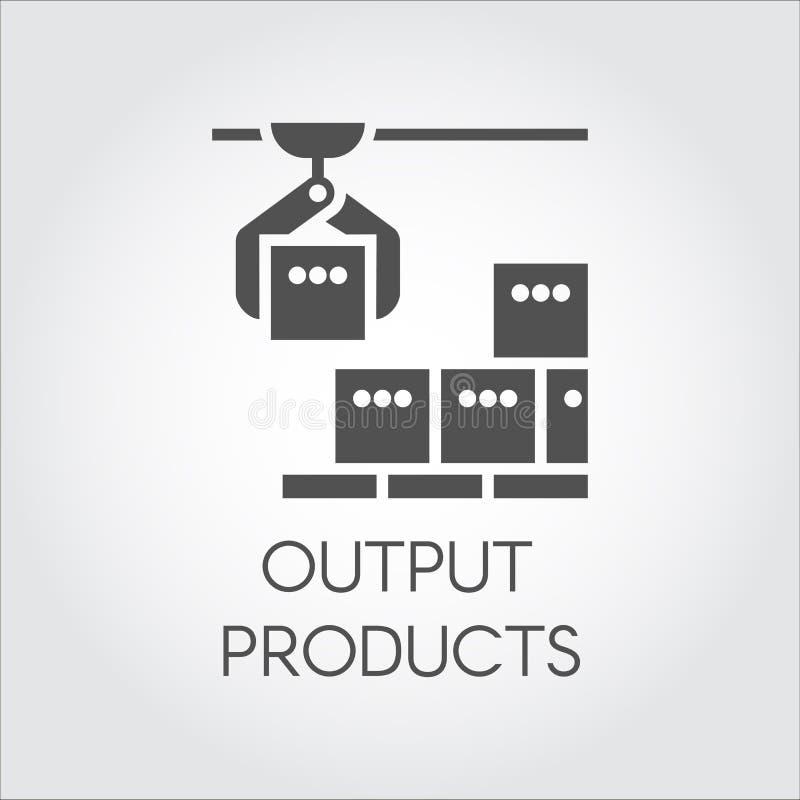 Czarna ikona wydajność produktów pojęcie Nowożytny wyposażenie dla fabryk i rośliien ilustracji