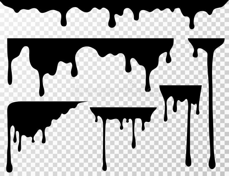 Czarna kapiąca nafciana plama, cieczy kapinosy lub farba atramentu aktualne wektorowe sylwetki odizolowywający, ilustracji