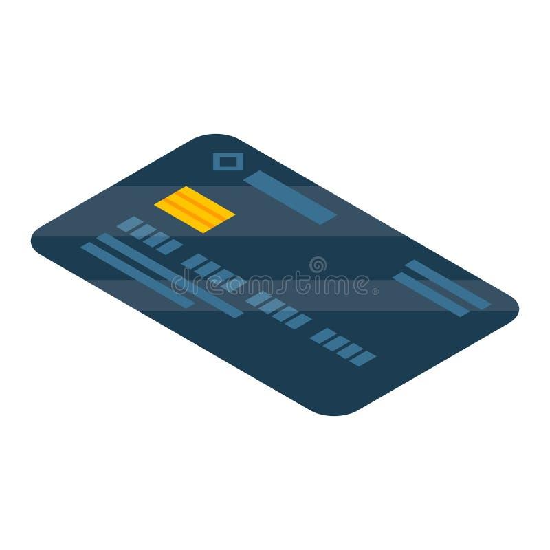 Czarna karty kredytowej ikona, isometric styl royalty ilustracja