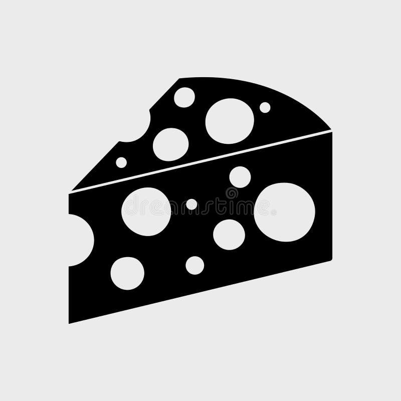 Czarna kawałka sera ikona wektor royalty ilustracja