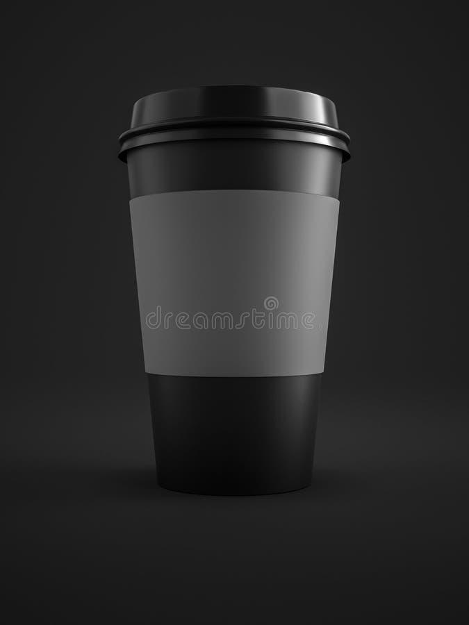czarna kawa iść filiżanka odizolowywająca na czarnym tle royalty ilustracja