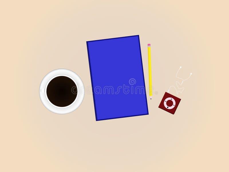 Czarna kawa, książka i odtwarzacz muzyczny, (Odgórny widok) obrazy stock
