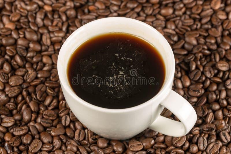 Czarna kawa w filiżanki pozyci na kawowych fasolach w topview obraz stock