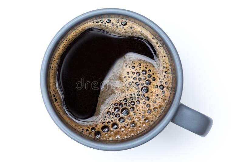 Czarna kawa w niebieskoszarym ceramicznym kubku odizolowywającym na bielu z góry zdjęcia stock