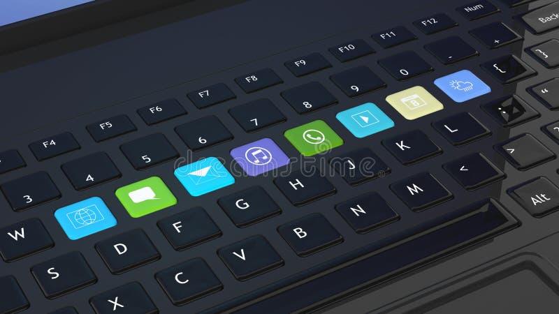 Czarna klawiatura z apps ikonami ilustracja wektor
