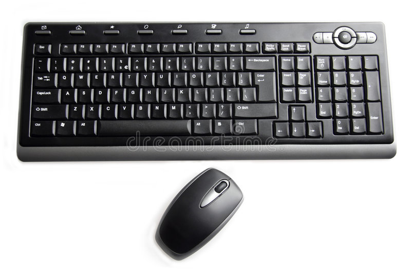 czarna klawiaturowa mysz zdjęcia stock