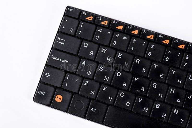 Czarna komputerowa klawiatura, biały tło obrazy royalty free