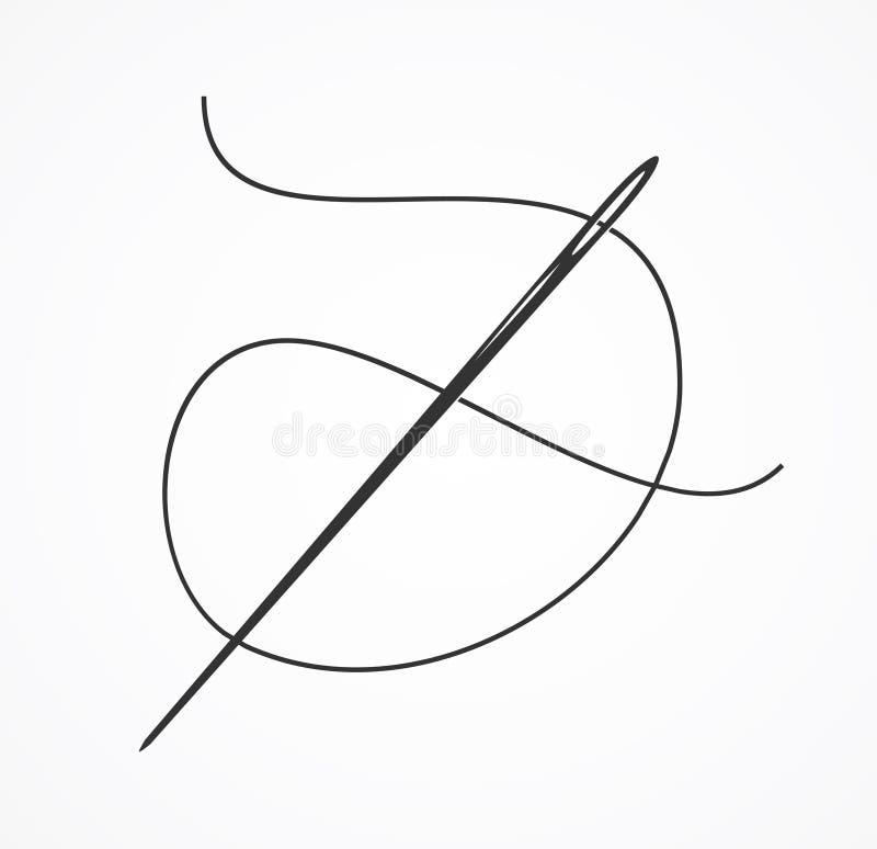 Czarna kontur nić, sylwetka i igła lub wektor ilustracja wektor