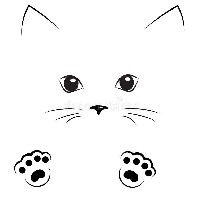 czarna konturu rysunku kota twarz z łapami royalty ilustracja