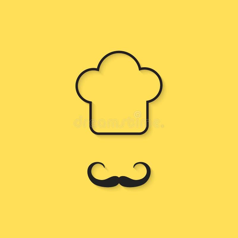 Czarna konturu szefa kuchni ikona ilustracji