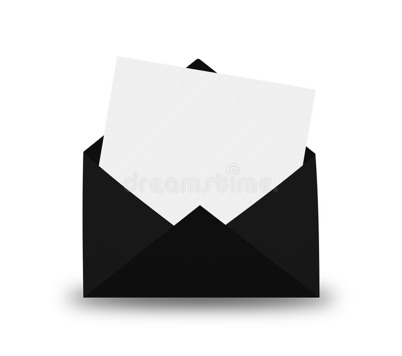 Czarna koperta z listem obrazy royalty free