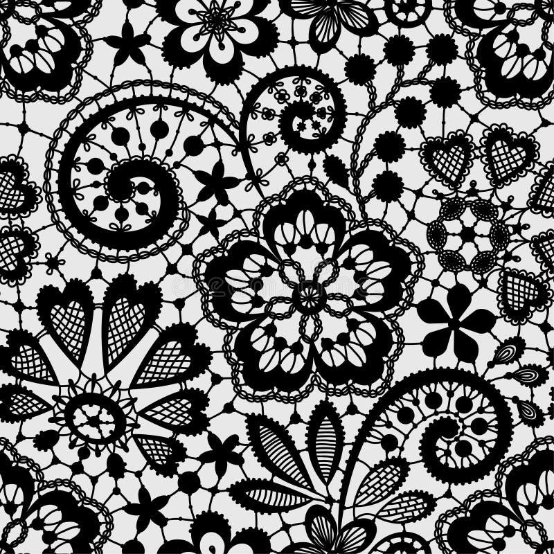 Czarna koronka, Bezszwowy wzór ilustracji