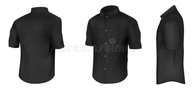 Czarna koszula z krótkim rękawa wektoru mockup ilustracji