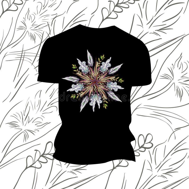 Czarna koszulka z kwiatami fotografia stock