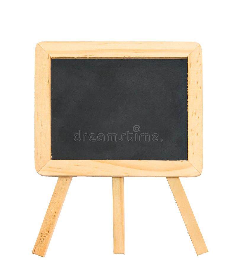 Czarna kredowa deska z czystym drewnianej ramy i tripod statywowym isola obrazy stock