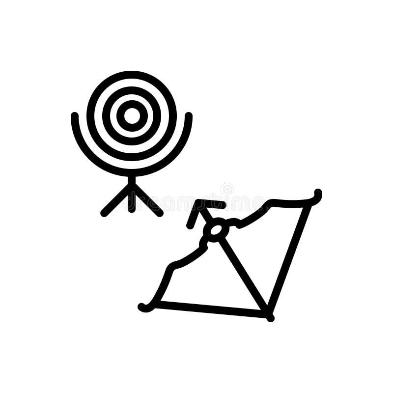 Czarna kreskowa ikona dla łucznictwa, łuczniczki i sporta, ilustracja wektor