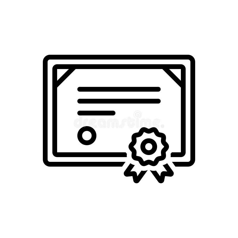 Czarna kreskowa ikona dla świadectwa, zaprzysiężonego pisemnego oświadczenia i certyfikata, ilustracji