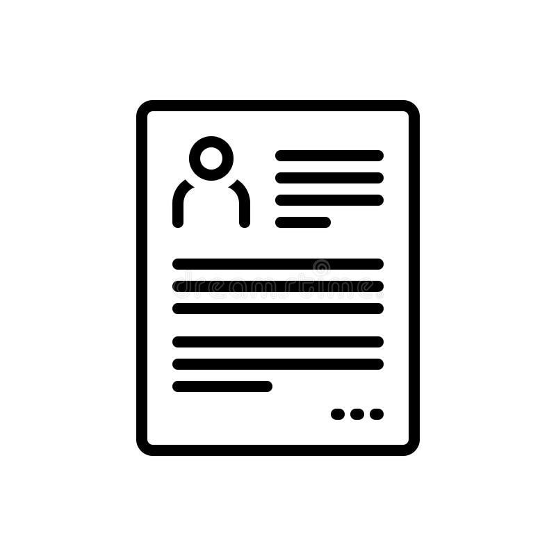Czarna kreskowa ikona dla życiorysu, kontynuuje i przechodzi ilustracji