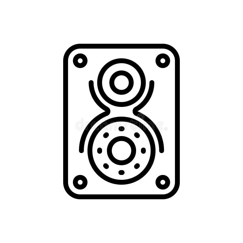 Czarna kreskowa ikona dla, accoustic, ilustracji