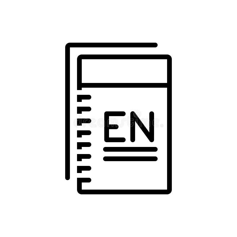 Czarna kreskowa ikona dla angielszczyzn, języka i nauki, ilustracji