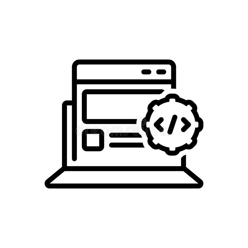 Czarna kreskowa ikona dla Apps Rozwija, optymalizacja i html ilustracja wektor