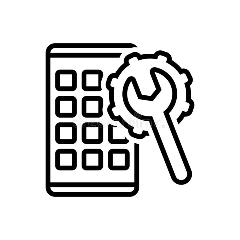 Czarna kreskowa ikona dla Apps Rozwija, optymalizacja i oprogramowanie ilustracja wektor