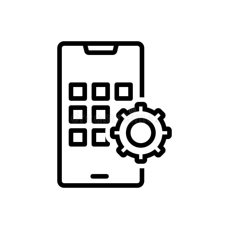Czarna kreskowa ikona dla Apps Rozwija, smartphone i gadżet ilustracja wektor