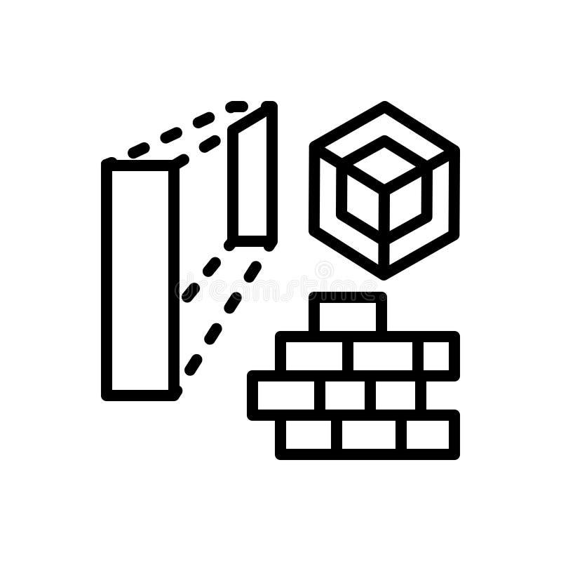 Czarna kreskowa ikona dla architektury, domu i cegły, ilustracji