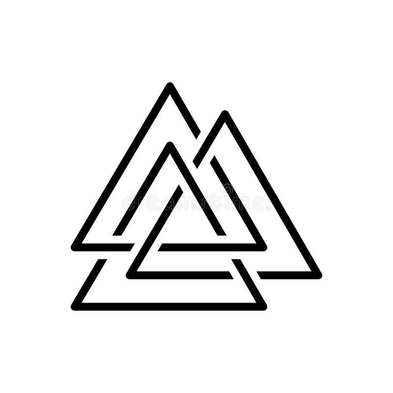 Czarna kreskowa ikona dla Asgard, logo i trinity, ilustracja wektor