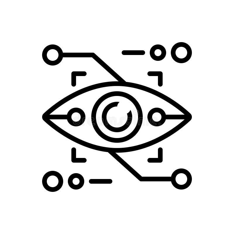 Czarna kreskowa ikona dla augmentacji, gadżetu i rzeczywistości Eyetap, royalty ilustracja