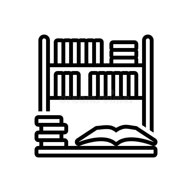 Czarna kreskowa ikona dla biblioteki, półki na książki i bookstore, ilustracji