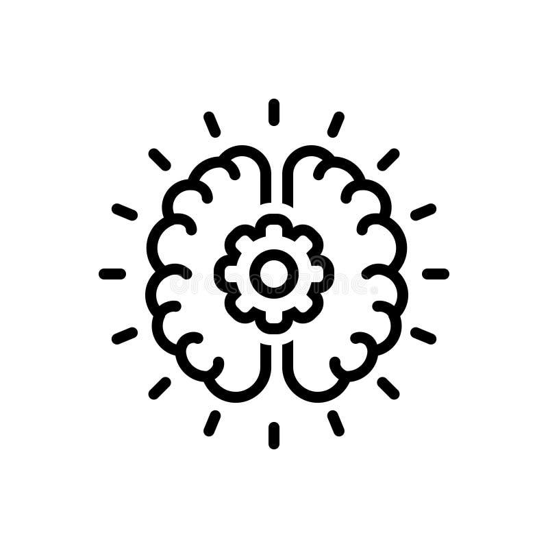 Czarna kreskowa ikona dla Brainstorming, obmyśla i twórczość royalty ilustracja