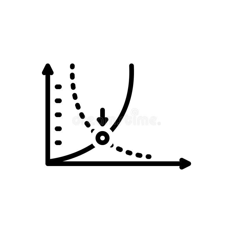 Czarna kreskowa ikona dla Breakeven, przerwa i wyrównuje ilustracja wektor