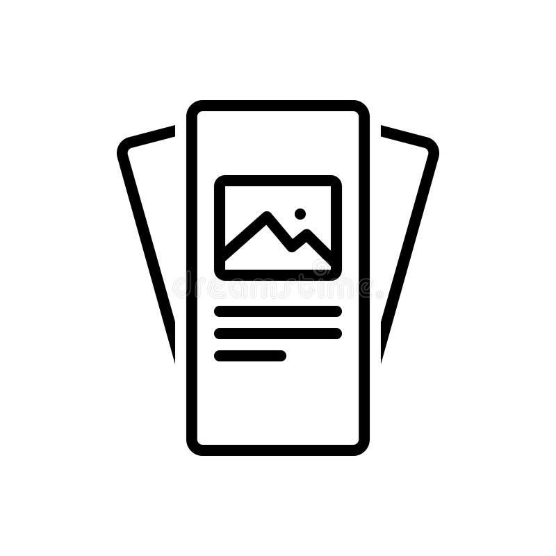 Czarna kreskowa ikona dla broszurki, broszury i broszury, ilustracja wektor