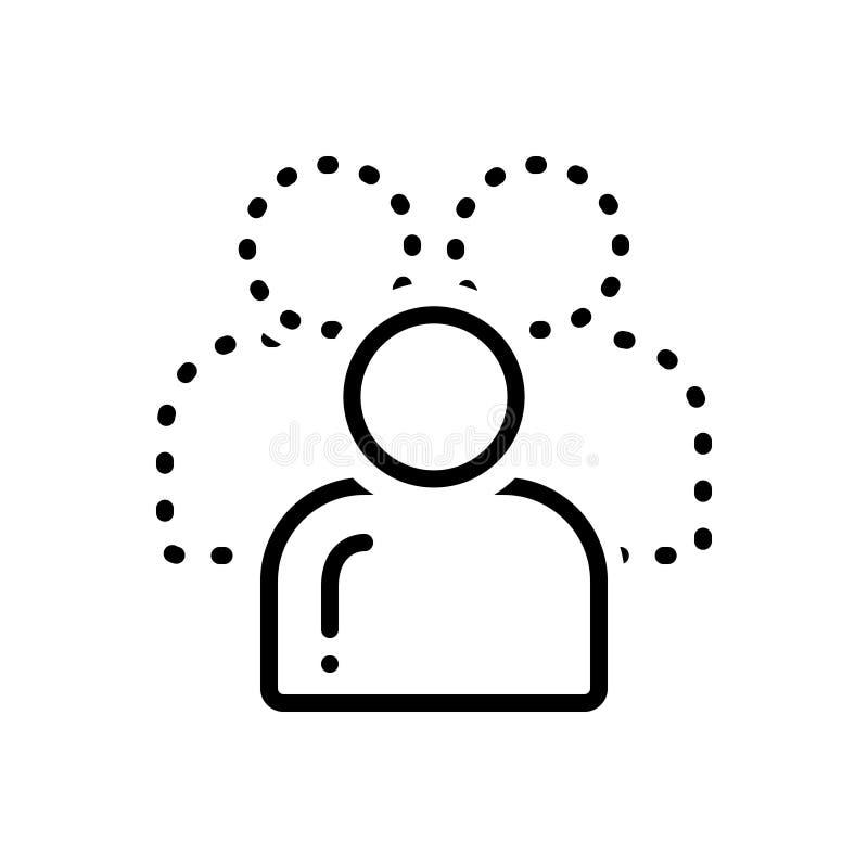 Czarna kreskowa ikona dla Buddypress, kahat i dusi royalty ilustracja